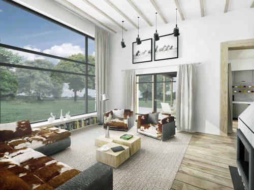 Truoba Class 116 house plan living room