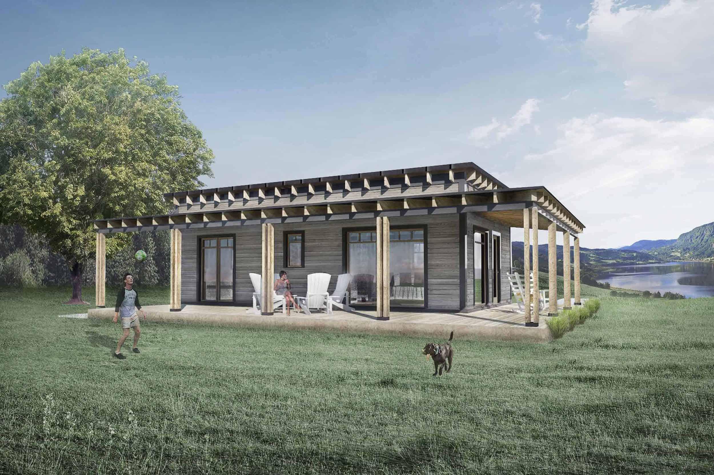 Truoba Mini 117 house plan rear elevation