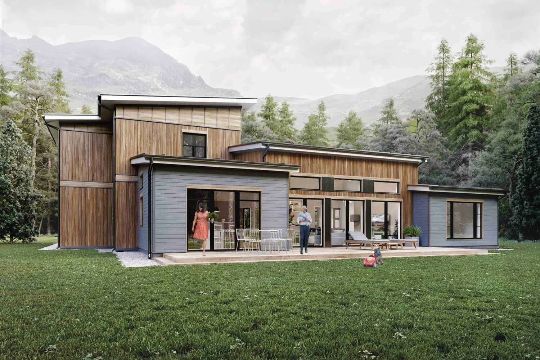 2500 sq ft house plan rear elevation Truoba 118