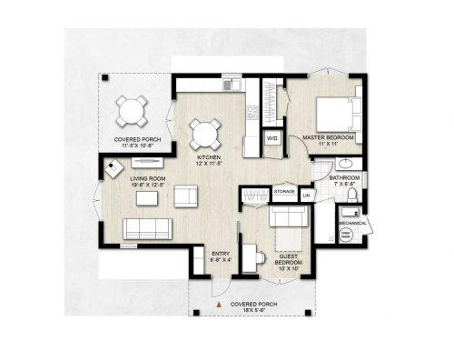 Truoba Mini 219 - 2 bedroom house plan
