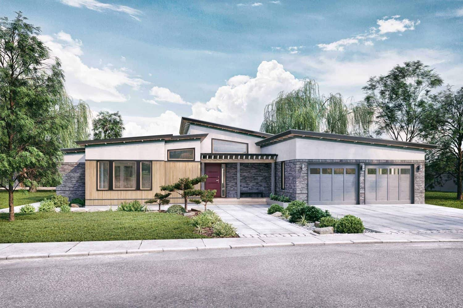 Truoba 218 mid-century modern house front elevations