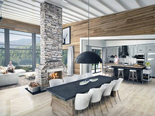 Truoba Class 115 rustic house plans dining room