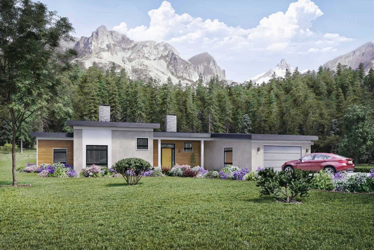 Truoba 2000 sq. ft. house front elevations