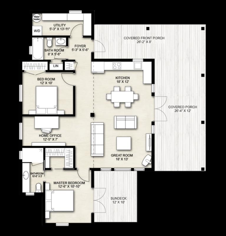 Truoba 2 bedroom house floor plan