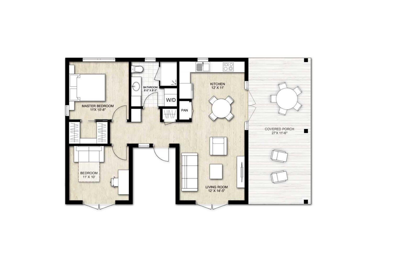 Truoba Mini 319 - 2 bedroom house plan