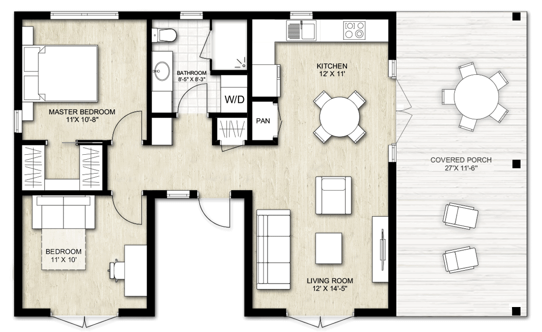Truoba two bedroom home plan