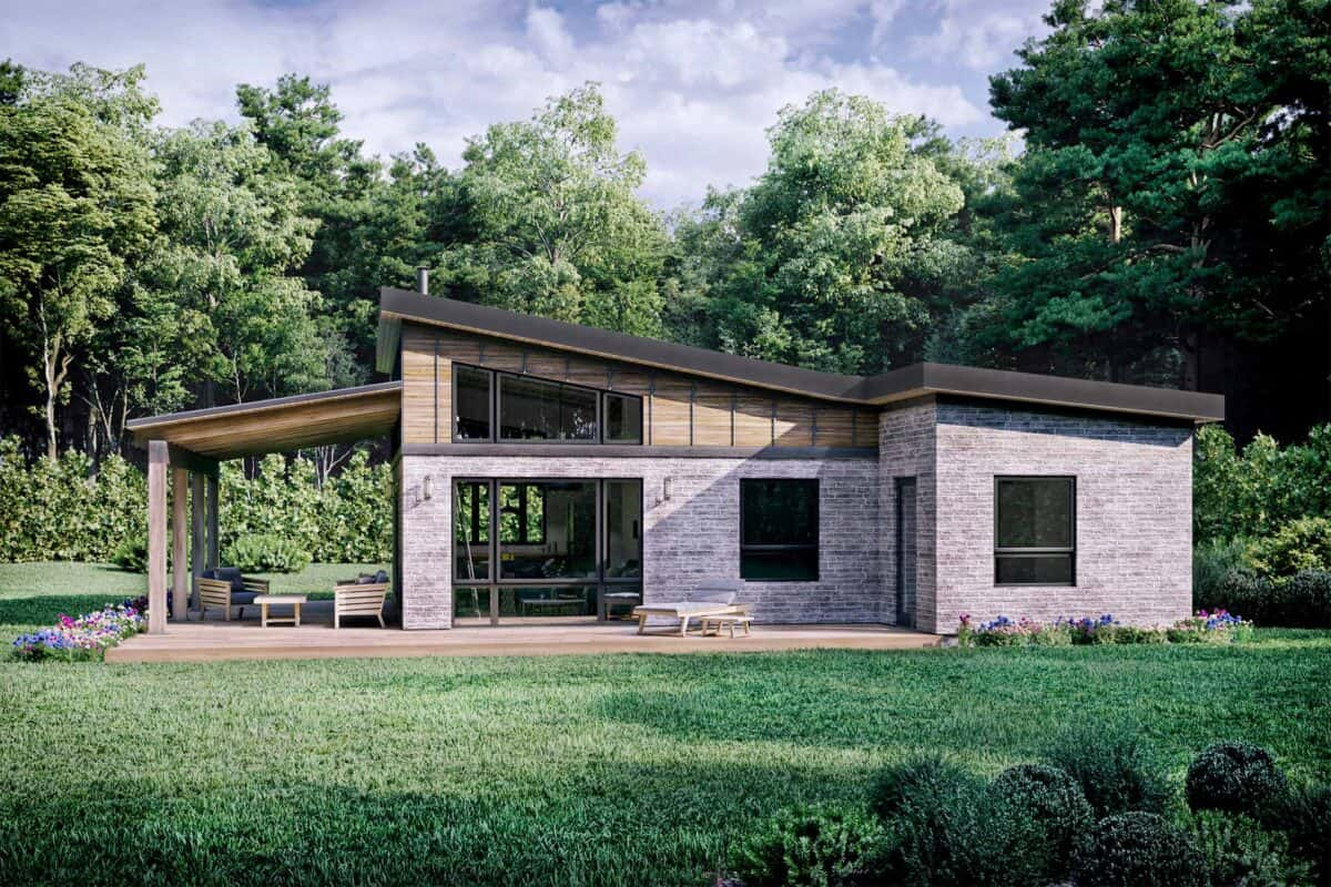 Truoba Mini 615 affordable house plans rear elevation