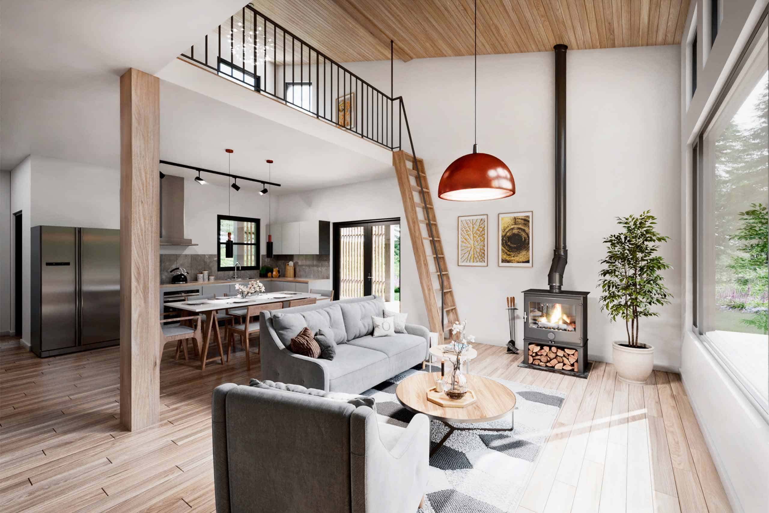 Truoba 321 2 bedroom house plans living area
