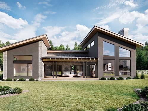 Truoba 320 U-shaped house plans elevation