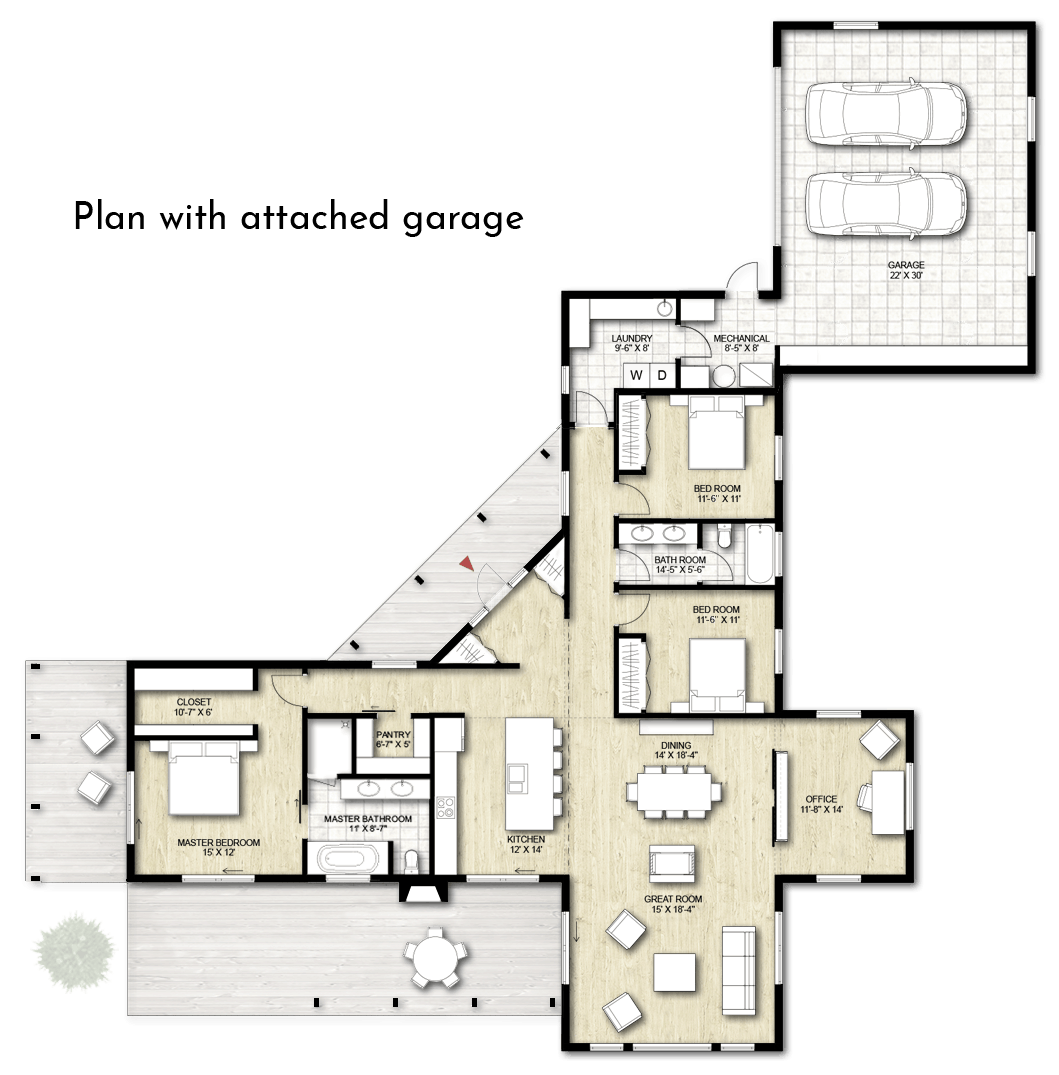 Truoba 3 bedroom house plan with attached garage