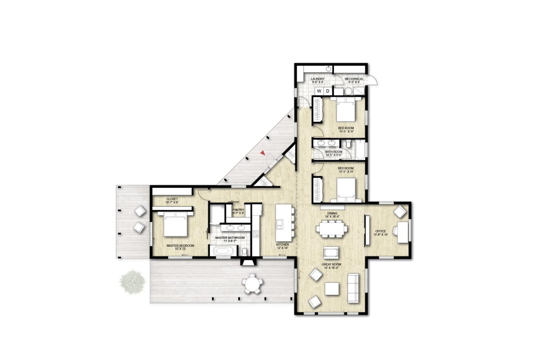 Truoba Class 115 3 bedroom house plan