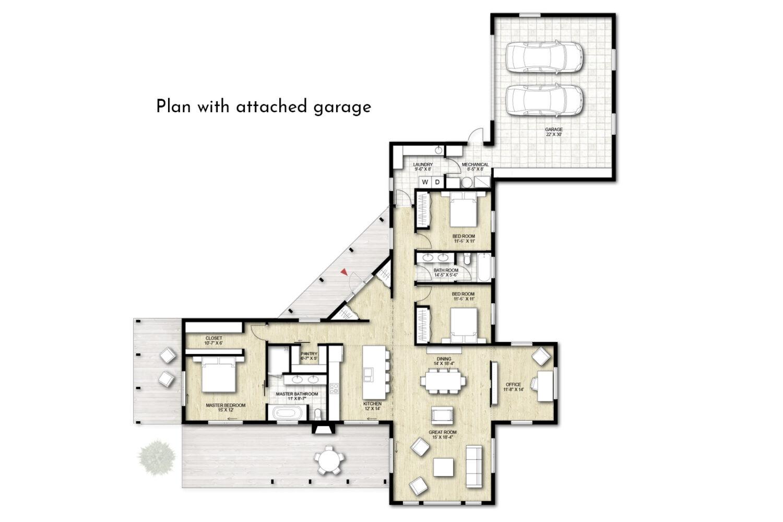 Truoba Class 115 house plan with garage